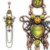 Piercing pentru buric în stil vintage - fluture, zircon colorat, lanțuri