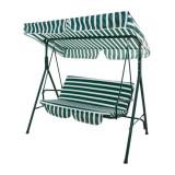Balansoar gradina din metal/material textil, alb/verde. 107/174/162 cm