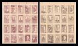 1913 Belgia - Expozitia Universala Gand 2 coli rare x 20 vignete culori diferite, Istorie, Nestampilat