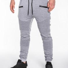 Pantaloni pentru barbati de trening gri deschis buzunare laterale fermoare decorative banda jos cu siret bumbac p427