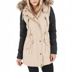 Geaca de iarna lunga cu maneci imitatie piele Urban Classics XL EU