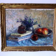 "Ioana Giossan (1915-2004) ""Natura statica""- ulei/carton, (tablou), Impresionism"