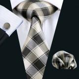 Set cravata + batista + butoni matase naturala model crem 229