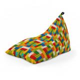 Cumpara ieftin Fotoliu Units Puf (Bean Bag) tip lounge, impermeabil, cu maner, 155 x 83 x 65 cm, lego tetris verde