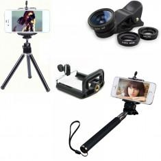 Set 5 in 1 lentile profesionale (wide) + selfie stick + mini trepied + suport smarthphone universal