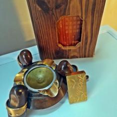 Bricheta S.T. DUPONT placata cu aur + scrumiera si agenda vintage