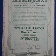 Actiuni Banca Agricola - 1940 - titlu la purtator - Actie - Actiune agricultura