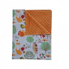 Ingrid's Fabrics Paturica bebelusi Minky - Prietenii Padurii - Orange 75x95cm