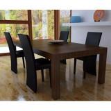 Set 4 scaune bucătărie piele sintetică, Negru