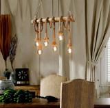 Cumpara ieftin Lustra tip sfoara Vintage din Bambus 6 Surse