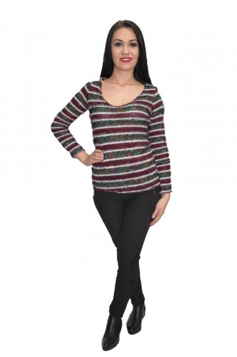 Bluza tricotata ,model multicolor ,nuanta de mov-gri