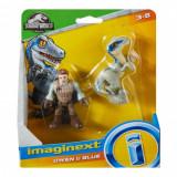 Imaginext Jurassic World Owen si Blue (7.5 cm/ 8 cm), Mattel