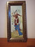 Pictura Asiatica/Persia foita de os in rama lemn mozaic-intarzii /Khatam frame, Istorice, Acuarela, Miniatural
