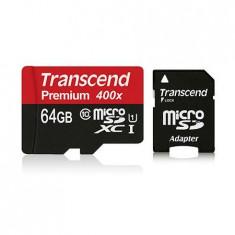 MICRO SD CARD 64GB CLS 10 CU ADAPTOR TRANSCEN