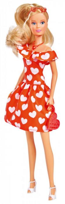 Papusa Steffi Love in rochita cu inimioare, 29 cm