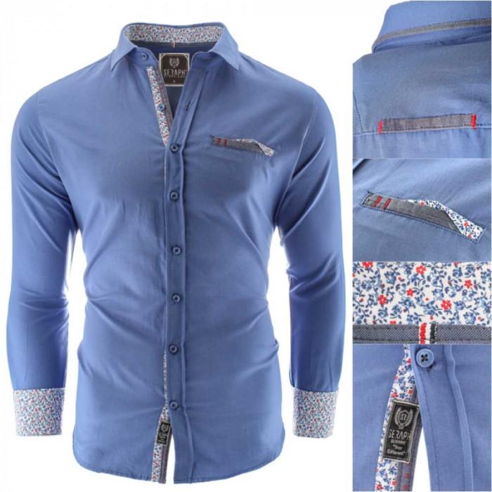 Camasa pentru barbati, bleumarin, Slim fit, casual, cu guler - Prato