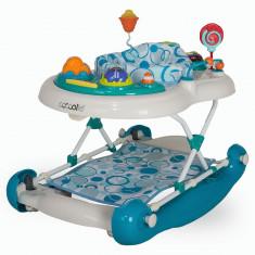 Premergator cu balansoar si scaun rotativ Coccolle Inizio Albastru