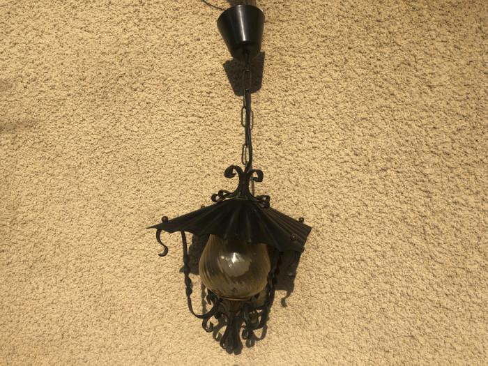 Candelabru,lustra ,lampa germana rustica din fier forjat