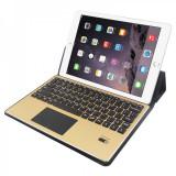 Husa universala cu tastatura aurie detasabila bluetooth si touchpad pentru tablete 4 - 10.1 inch, negru