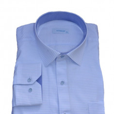 Camasa clasica cu maneca lunga, alba cu buline albastre