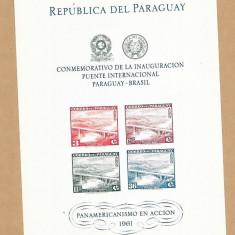 PARAGUAY 1961 ANIVERSARI , CONSTRUCTII , PODURI  COLITA NESTAMPILATA