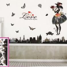 Sticker decorativ 5D Love roses + Cadou set Stiker fosforescente