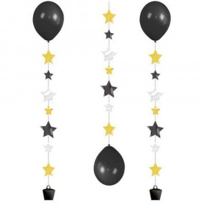 Panglica decorativa cu stelute pentru baloane cu heliu - 100 cm, Radar 9902240, 3 buc/set
