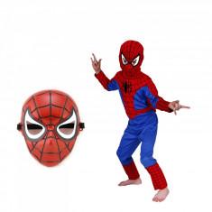 Costum Spiderman Infinity pentru copii, S, 95 - 110 CM, 3 - 5 ani masca textila si de plastic incluse