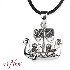 Pandantiv argint viking Corabia dragon