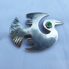 BROSA argint PERUVIANA INCA veche PELICAN BATOS ZBURAND vintage SEMNATA rara