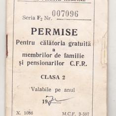 bnk  div CFR - Permise pentru calatorie gratuita - cls 2 - 1972