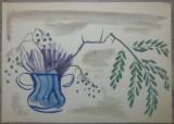 Natura statica cu vaza// acuarela pe hartie