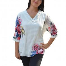 Bluza alba de ocazie cu imprimeu floral multicolor si dungi
