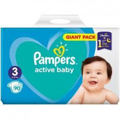 Scutece Pampers Active Baby 3 Giant Pack, 90 bucati