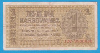 (2) BANCNOTA UCRAINA - 1 KARBOWANEZ 1942 (10 MARTIE), NAZISTA, MAI RARA foto
