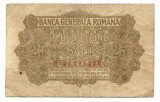 Ocuatia germana in Romania 25 bani 1917   VG    Serie si numar: F.21183118