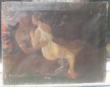 Tablou vechi - scena intima- semnat, Nud, Ulei, Realism