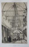 Interiorul unei biserici din lemn - Gravura de Andre Durand, 1839