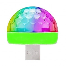 Glob disco multicolor,cu mufa USB si senzor detectie ritm muzica,pt masina