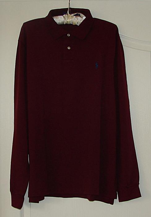 Tricou maneca lunga POLO by RALPH LAUREN, Marime XL, Visiniu, Autentic/Original