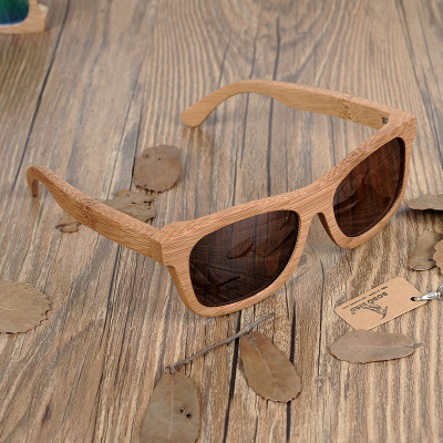 Ochelari de soare din lemn Bobo Bird BG003, lentila maro foto
