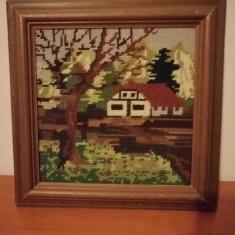 Goblen, rama lemn, fara sticla 28x28 cm