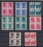 ROMANIA 1940 LP 140 CAROL II CULORI SCHIMBATE BLOCURI DE 4 TIMBRE  MNH, Nestampilat