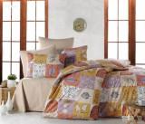 Cumpara ieftin Lenjerie de pat pentru o persoana cu husa de perna dreptunghiulara, Autumn, bumbac satinat, gramaj tesatura 120 g mp, multicolor, 140x240 cm, Set complet, FIVE STORE