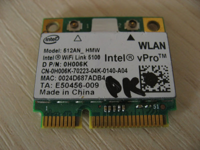 Placa wireless laptop Dell Precision M6400, Intel WiFi Link 5100, 0H006K foto