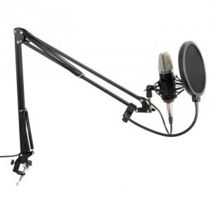 Vonyx Set de microfon diafragmă, inclusiv braț, păianjen, protecție la vânt, cablu