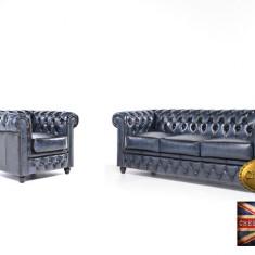Set canapele din piele naturală-Chesterfield Brand-Albastru Antique