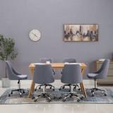 Scaune de sufragerie cu rotile, 6 buc., gri închis, țesătură