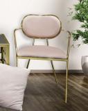 Cumpara ieftin Set 2 scaune tapitate cu stofa, cu picioare metalice Thin Velvet Rose / Auriu, l54xA57xH76 cm