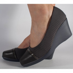 Pantofi platforma gri cu gel pe talpa(cod 523009)